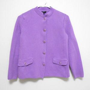 Talbots Purple Knit Cardigan Blazer Jacket sz M/P